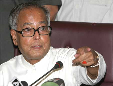 Finance Minister Pranab Mukherjee at a press conference in New Delhi.