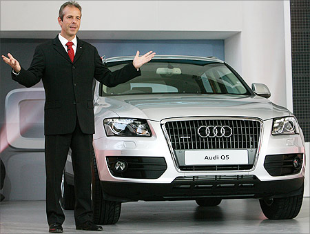 Benoit Tiers, Managing Director of Audi India presents the new Audi Q5, a sports utility vehicle during its India launch.