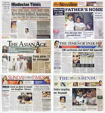 A combination photo of India newspapers.