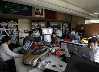 Designers at a BPO unit in Mumbai.
