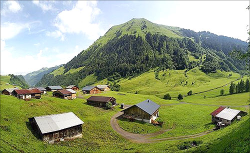 Austrian rural area of Schoppernau in summer.