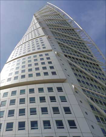 The 54-story tall Turning Torso tower in Malmo, Sweden
