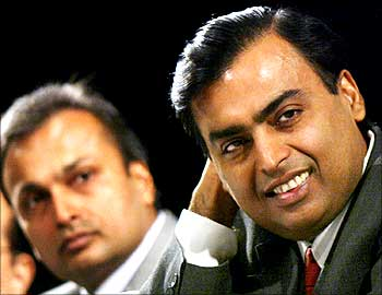 Mukesh and Anil Ambani in happier times.